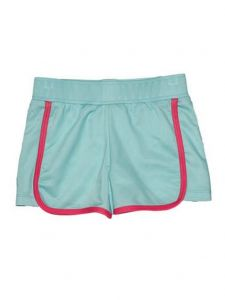 Big Girls Aqua Contrast Detailing Riley Lined Sport Swim Shorts 7-16