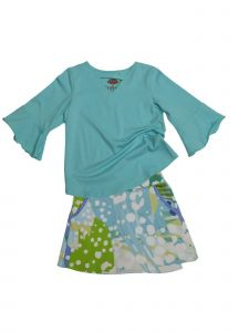 Little Girls Peri Green Wild One Print Jackie 2 Pc Skort Set Outfit 2T-6X