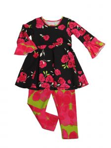 Little Girls Hot Pink Lime Romance Swing Kacey Tunic 2 Pc Legging Set 2T-6X