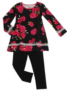Little Girls Hot Pink Red Black Rose Print Tunic Mindy 2 Pc Legging Set 2T-6X