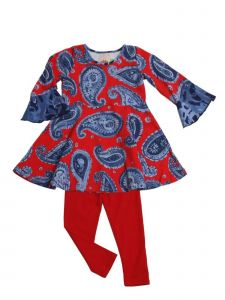 Little Girls Red Paisley Kacey Babydoll Swing Tunic 2 Pc Legging Set 2T-6X