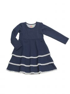 Big Girls Blue Stretched Denim Tiered Lace Trim Long Sleeve Lydia Dress 7-16