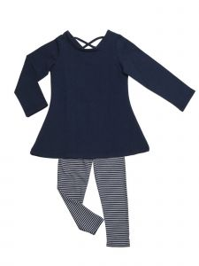 Little Girls Navy Denim Stretch Swing Tunic Josie 2 Pc Legging Set 2T-6X