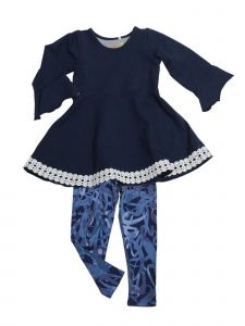 Little Girls Navy Denim Kacey Babydoll Swing Tunic 2 Pc Legging Set 2T-6X