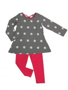 Big Girls Dove Gray White Dot Swing Tunic Josie 2 Pc Legging Set 7-16
