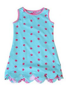 Big Girls Hot Pink Aqua K!K! Sea Shell Scalloped Reversible Dress 7-16