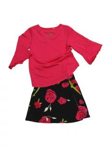 Big Girls Pink Rose Print V-Neck Romance Jackie 2 Pc Skort Set Outfit 7-12