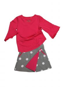 Big Girls Hot Pink Dove Gray White Dot Jackie 2 Pc Skort Set Outfit 7-12