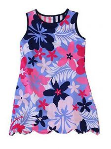 Little Girls Multi Color K!K! Beguiled Hibiscus Flower Reversible Dress 2T-6X