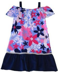 Little Girls Multi Color Floral Print Cindy Beguiled Hibiscus Dress 2T-6X
