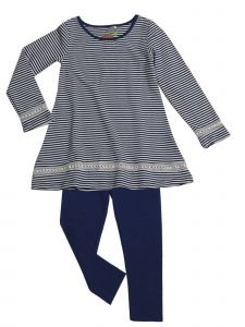 Little Girls Navy Stripe Lace Insert Tunic Mindy 2 Pc Legging Set 2T-6X