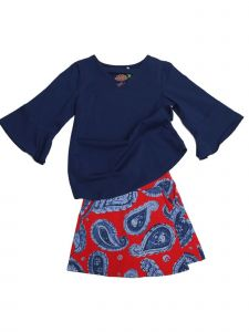 Little Girls Navy Red Paisley Flap Front Jackie 2 Pc Skort Set Outfit 2T-6X