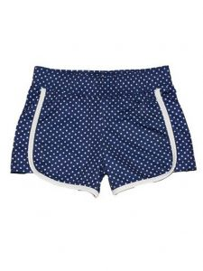 Big Girls Navy White Pin Dot Print Riley Lined Sport Swim Shorts 7-16
