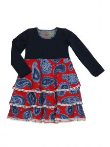Little Girls Blue Denim Paisley Lace Trim Tiered Knee-Length Lydia Dress 2T-6X