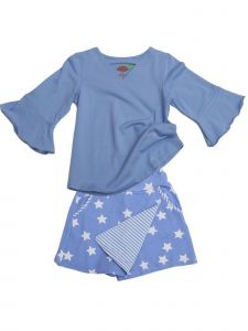 Little Girls Peri Blue Superstar Flap Front Jackie 2 Pc Skort Set Outfit 2T-6X