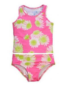 Little Girls Pink Darling Daisy Brooke Fully Lined 2 Pc Tankini Swimsuit 2T-6X