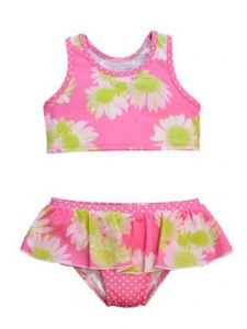 Baby Girls Pink Lime Darling Daisy Karina 2 Pc Ruffle Skirt Swimsuit 12-24M