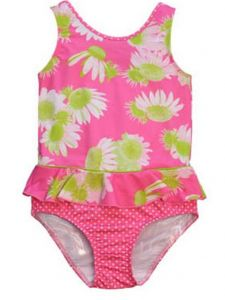 Little Girl Pink White Darling Daisy Print Ruffle One Piece Swimsuit 4