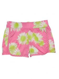 Big Girls Pink Darling Daisy Print Riley Lined Sport Swim Shorts 7-16