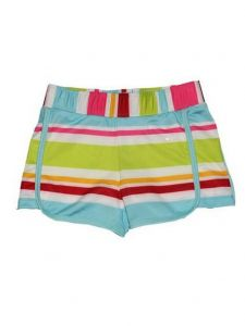 Big Girls Multi Color Aloha Stripe Riley Lined Sport Swim Shorts 7-16