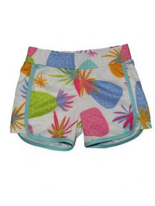 Big Girls Multi Color Pineapple Print Riley Lined Sport Swim Shorts 14