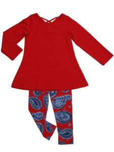 Little Girls Red Blue Paisley A-Line Swing Tunic Josie 2 Pc Legging Set 2T-6X