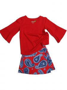 Little Girls Red Paisley Denim Flap Front Jackie 2 Pc Skort Set Outfit 2T-6X