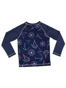 Big Girls Navy Smooth Sails Nautical Print Lined Zahra Rash Guard 7-16