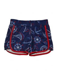 Little Girls Navy Smooth Sails Print Riley Lined Sport Swim Shorts 2T-6X