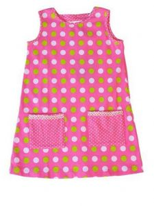 Little Girls Pink Lime Smitten Dot Print Pocket A-Line PollyAnna Dress 2T-6X