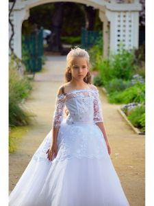Girls White Off-Shoulder Floral Lace Crystal Thiamo Flower Girl Dress 6-8