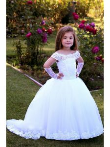 TriumphDress Big Girls White Off-Shoulder Tulle Todi Flower Girl Dress 8/10