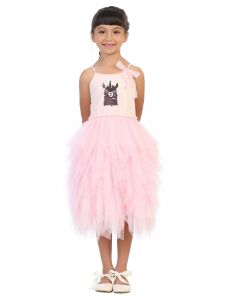 Kids Dream Big Girls Pink Flip Sequin Llama Corn Birthday Tutu Dress 8-12