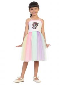 Kids Dream Big Girls Multi Color Flip Sequin Unicorn Birthday Tutu Dress 8-12