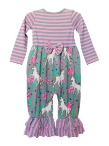 AnnLoren Baby Girls Pink Unicorns Rainbows Romper 6-24 Months