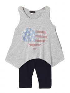 Lori Jane Big Girls Gray Black Rhinestone Patriotic Tank Top Leggings  Set 6-16