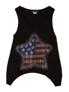 Lori Jane Big Girls Black Rhinestone Star Patriotic Tank Top 6-16