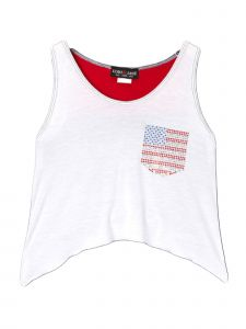 Lori Jane Big Girls White Red Patriotic Tank Top 6-16