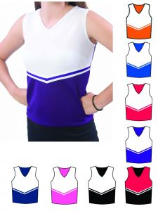 Pizzazz Girls Multi Color V-neck Victory Uniform Shell Top Youth 2-16
