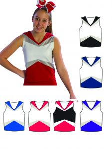 Pizzazz Girls Multi Color Premier Uniform Shell Top Youth 2-16