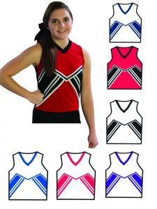 Pizzazz Girls Multi Color Spirit Uniform Shell Top Youth 2-16