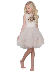 Ooh! La! La! Little Girls Champagne Burgundy Amarine Vanilla Dress 2T-6