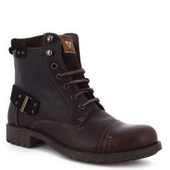Vandana Adult Mocha Lace-Up Construction Ankle Strap Leather Boots 6-10 Womens