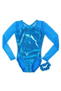 Veva By Very Vary Big Girls Blue Veronica Long Sleeve Gymnastics Leotard 8-12