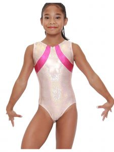 Womens Rose Gold Pink Sol Mystique Gymnastics Fancy Leotard XS-L