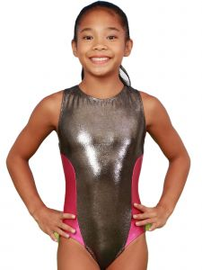 VEVA by Very Vary Big Girls Charcoal Fay Mystique Gymnastics Leotard 8-12