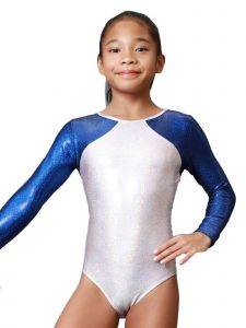 Womens Pearl Pink Blue Libra Mystique Gymnastics Long Sleeve Leotard XS-L