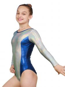 Big Girls Crystal Silver Aries Mystique Gymnastics Long Sleeve Leotard 8-12