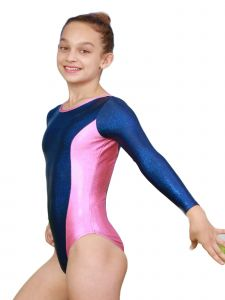 Big Girls Twilight Blue Pink Aries Mystique Gymnastics Long Sleeve Leotard 8-12