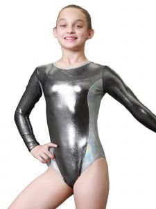 Women Charcoal Silver Aries Mystique Gymnastics Long Sleeve Leotard XS-L